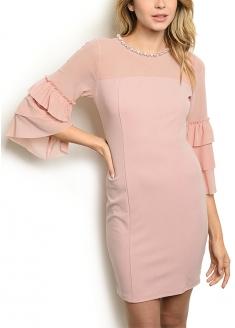 3/4 Frill Tule Sleeve - Bodycon Dress - Pink