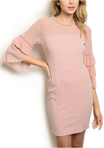 3/4 Frill Tule Sleeve - Bodycon Dress - Pink