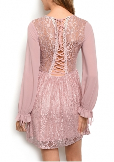 Long Sleeve Lace Dress with Lace-up - Rose