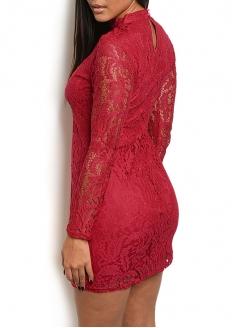 Long Sleeve Open Neck Dress - Red
