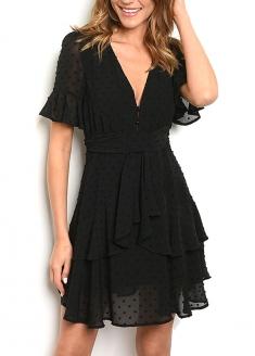 Dot Pattern Short Sleeve V-neck Dress