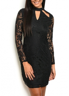 Long Sleeve Open Neck Dress - Black