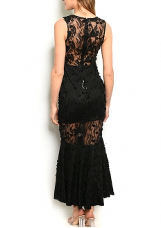 Sleeveless V-neck Lace Long Dress With Spangles - Black
