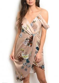 Drapped Floral Satin Dress - Beige