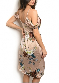 Drapped Floral Satin Dress - Beige