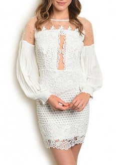 Long Sleeve All Over Lace And Mesh Dress - White