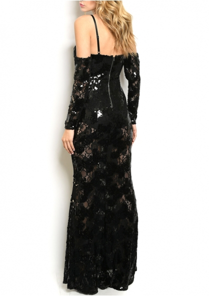 Sequined Off Shoulder Lace Long Dress - Black