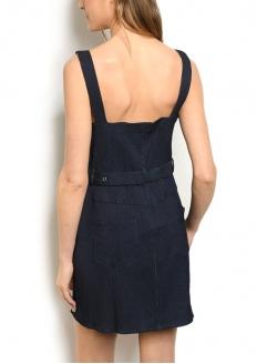 Belted Stretch Denin Dress with Zipper - Dark Blue