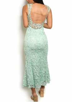 Padded Sleeveless All Over Lace Gown - Mint
