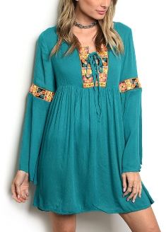 Long Sleeve Embroidered Tunic Dress - Teal