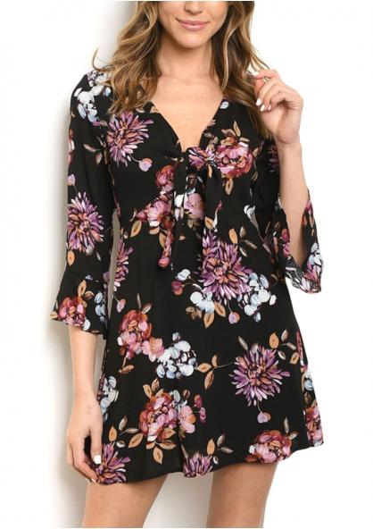 Flare Sleeve Floral Print Dress - Black