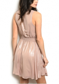 Sleeveless V-neck Skater Dress - Metallic Mauve