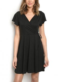 Short Sleeve Crossover Neck Dress - Black