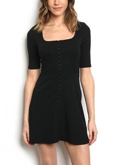 Hook Front Detail Ribbed Knit Dress - Black