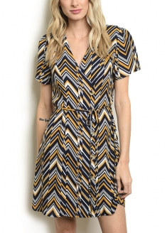 Zigzag Print Short Sleeve Dress - Navy