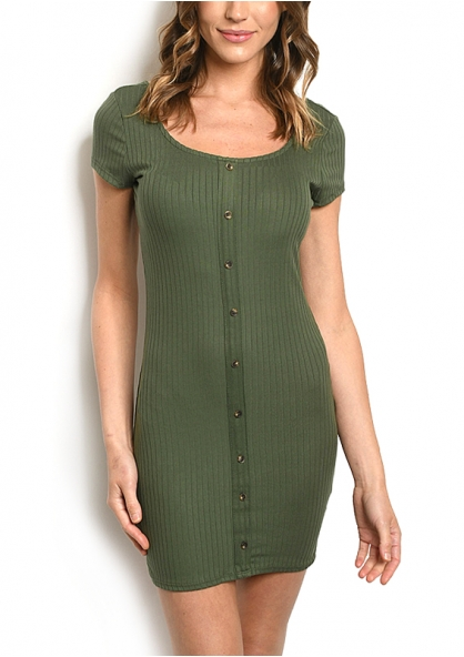 Crossback Ribbed Knit Padded Dress - Olive