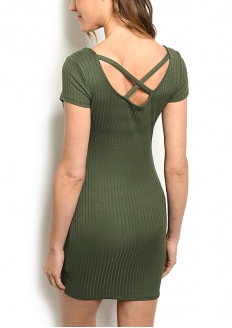 Crossback Ribbed Knit Padded Dress - Olive