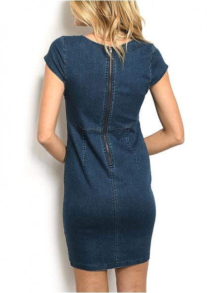 V-neck Stretch Denim Dress