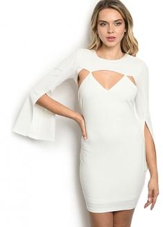 Long Slit Bell Sleeve Bodycon Dress - White