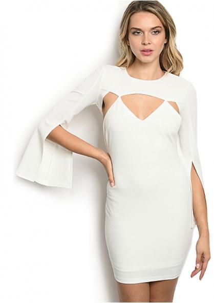 Vestido Manga Longa Com Fenda - Branco