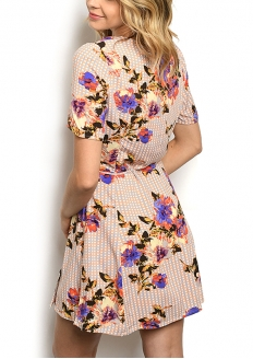 Crossover Wrap Button Detail Floral Print Dress - Peach