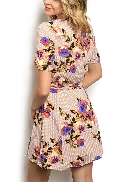 Crossover Wrap Button Detail Floral Print Dress - Peach