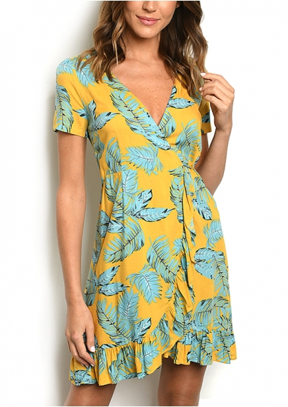 Leaf Print Crossover Wrap Dress - Yellow