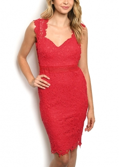 Sleeveless Padded Lace Dress - Red