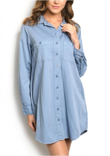 Boyfriend Style Long Sleeve Shirt Denim Dress - Light Blue