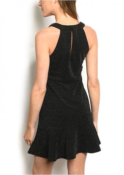 Sleeveless Halter Neck Glitter Dress - Black