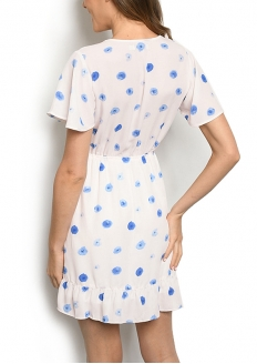 Short Sleeve V-neck Printed Overlap Dress - Light Pink