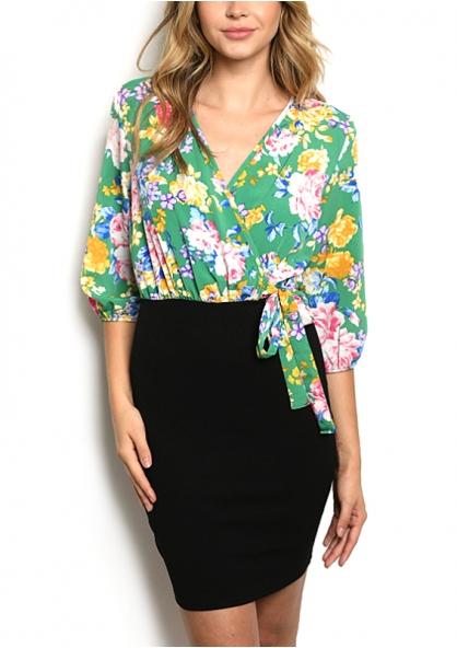 3/4 sleeve V-neck overlap floral Dress - Green / Black
