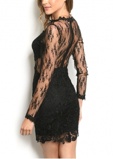 Long Sleeve Lace Overlay Dress - Black