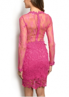 Long Sleeve Lace Overlay Dress - Fucsia