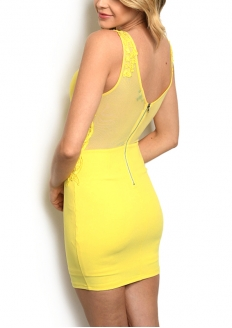 Lace Detail Bodycon Padded Dress - Yellow