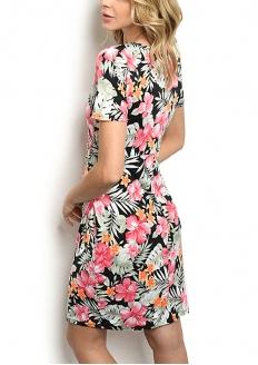 Vestido Transpassado Florido - Preto
