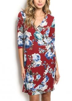 Half sleeve Floral Print Wrap Dress - Red