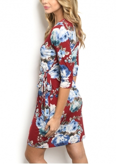 Half sleeve Floral Print Wrap Dress - Red