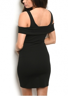 Cold Shoulder Knotted Front Bodycon Dress - Black