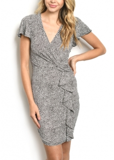 Overlap Ruffle Dots Printed Dress - Black