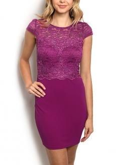 Short Sleeve Lace Bodice Two-tone Sheath Dress - Purple