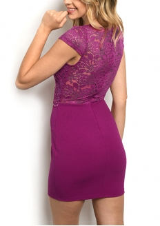 Vestido Manga Curta Com Top de Renda - Púrpura