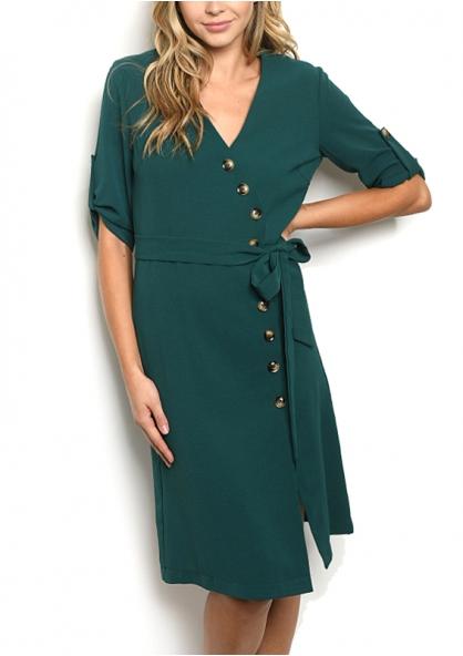 Half Sleeve V-neck Button Front Detail Tie Belt Dress - Green