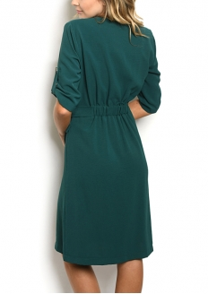 Half Sleeve V-neck Button Front Detail Tie Belt Dress - Green