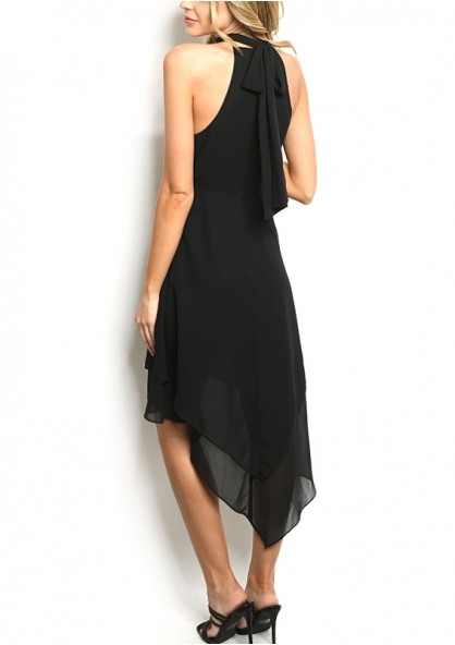 Sleeveless Layered Asymmetric Dress - Black