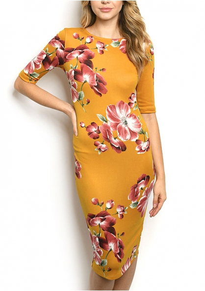 Vestido Semi Longo Florido - Mostarda