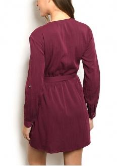 Long Sleeve V-neck Button Dress - Wine