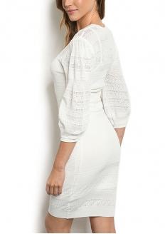 Vestido De Malha Manga Bufante - Branco