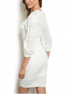 3/4 Sleeve Knit Lace Dress - White