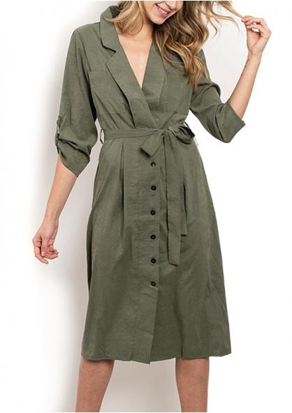 3/4 Sleeve Knee-length Dress - Green